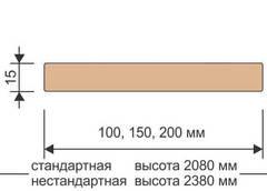 Доборная планка стандарт массив ольхи+шпондуба 15*200*2080 Ока