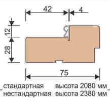 Стойка короба стандарт ДК 40*75*2080, массив ольхи+шпон дуб Ока