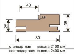 Стойка короба телескоп с уплотнителем 2070*80*24мм Версаль