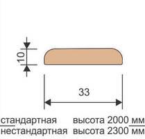 Притворная планка стандарт 10*33*2000 мм, массив дуба Ока